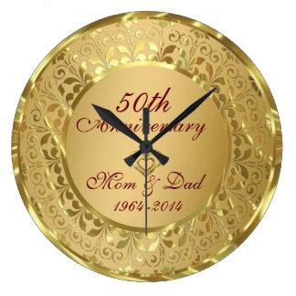 Sparkling Gold 50th Wedding Anniversary Wall Clocks