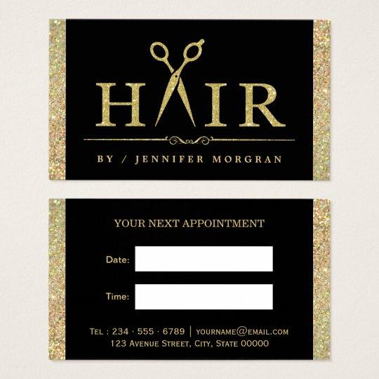 Sparkling Gold Glitter Hair Salon Appointment Card | Zazzle
