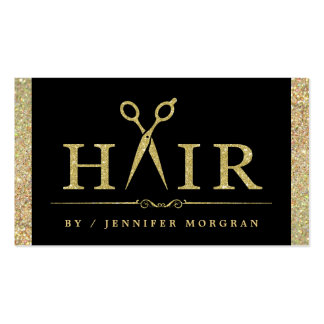 Sparkling Gold Glitter Hair Salon Appointment Card Pack Of Standard Business Cards