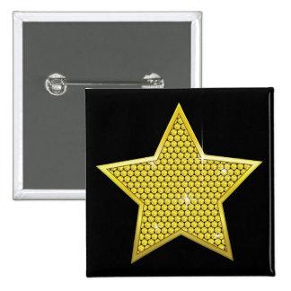 Sparkling Gold Star 15 Cm Square Badge