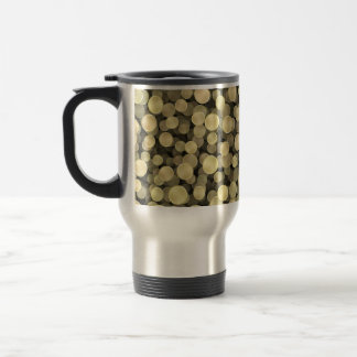Sparkling Golden Polka Dots Travel Mug