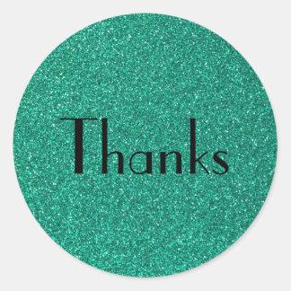 Sparkling Green Glitter Texture Thanks Classic Round Sticker