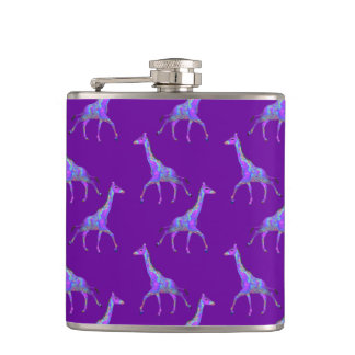 Sparkling Hippie Style Purple Giraffe Hip Flask