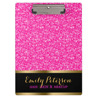Sparkling Hot Pink And White Glitter Clipboard