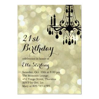 Sparkling Lights Gold Ballroom Birthday Invitation