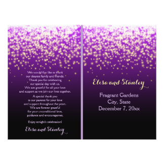 Sparkling lights in the sky purple wedding program flyer