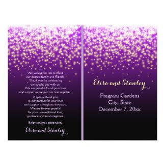 Sparkling lights in the sky purple wedding program flyer