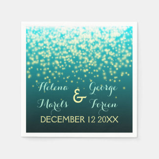 Sparkling lights in the sky teal, aqua wedding disposable serviette