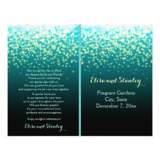 Sparkling lights in the sky teal, wedding program flyer