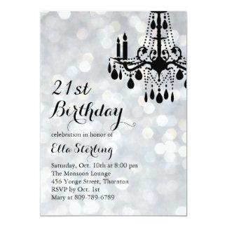 Sparkling Lights Silver Ballroom Birthday Invite