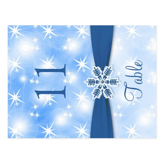 Sparkling lights, snowflake on blue Table number Postcard