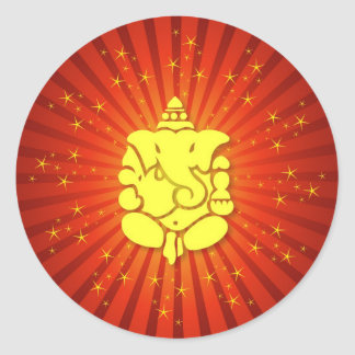 Sparkling Lord Ganesha Classic Round Sticker