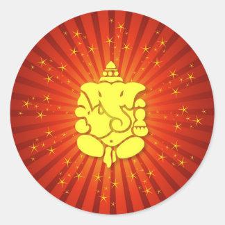 Sparkling Lord Ganesha Round Sticker