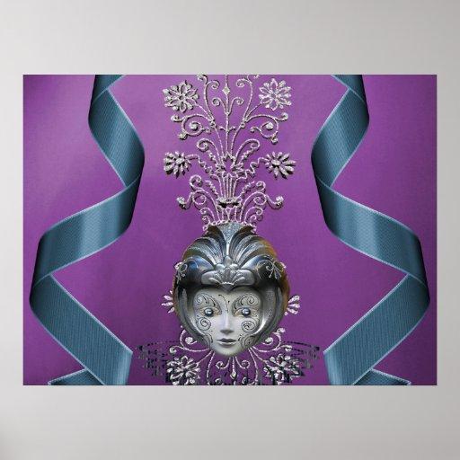 Sparkling Mardi Gras Party Mask & Streamers Print