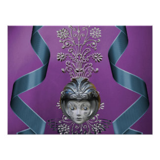 Sparkling Mardi Gras Party Mask Streamers Print