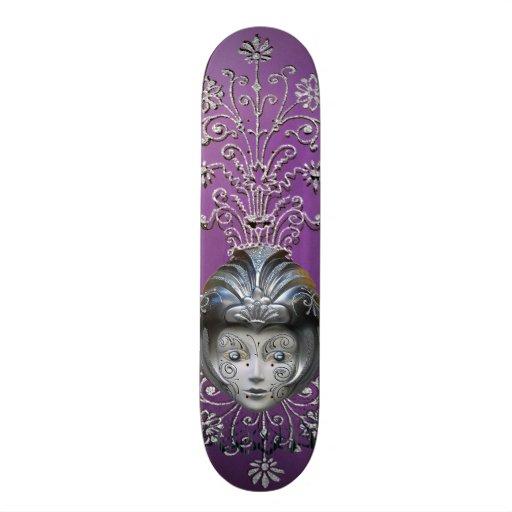 Sparkling Mardi Gras Party Mask & Streamers Custom Skateboard