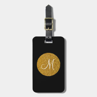 Sparkling Monogram Luggage Tag w/ leather strap