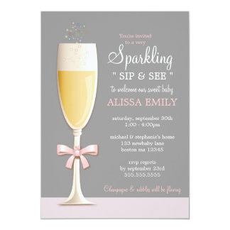 Sparkling New Baby Girl Sip and See Invitation