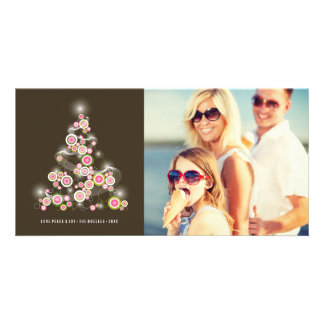 Sparkling Pink Christmas Tree Holiday Photo Card