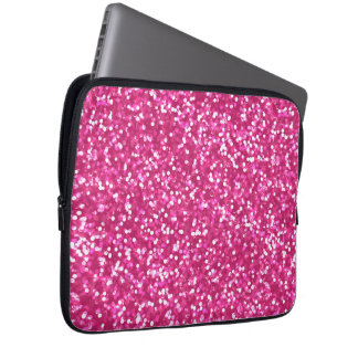 Sparkling Pink Glitter Laptop Computer Sleeves