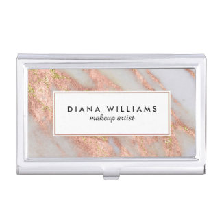 Sparkling Pink Marble Abstract Makeup Artist Business Card Holder