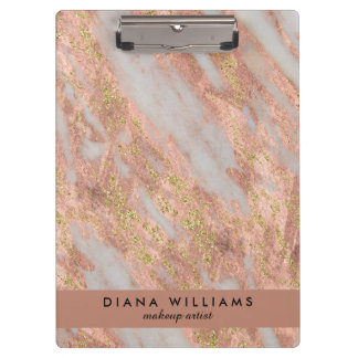 Sparkling Pink Marble Abstract Makeup Artist Clipboard