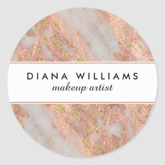 Sparkling Pink Marble Abstract Makeup Artist Round Sticker