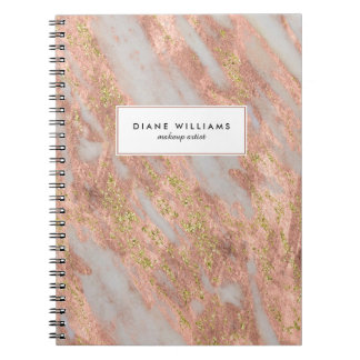 Sparkling Pink Marble Abstract Pattern with Name Spiral Note Book