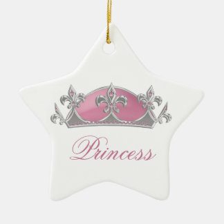 Sparkling Pink Princess Faux Crown with Diamonds Ceramic Star Decoration