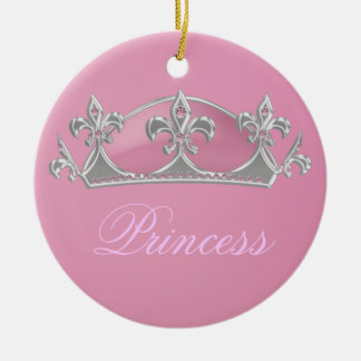 Sparkling Pink Princess Faux Crown with Diamonds Christmas Ornament