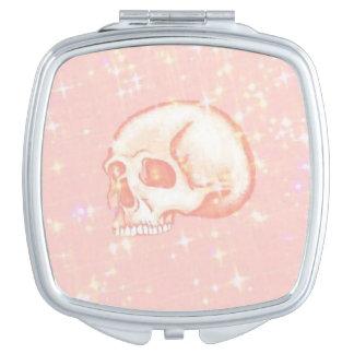 Sparkling Pink Skull Travel Mirrors