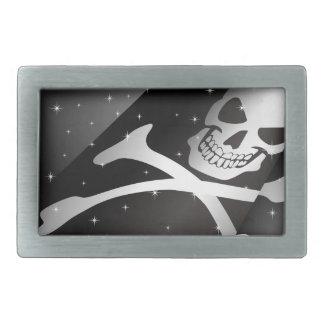 Sparkling Pirate Flag Rect Belt Buckle