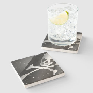Sparkling Pirate Flag Stone Coaster