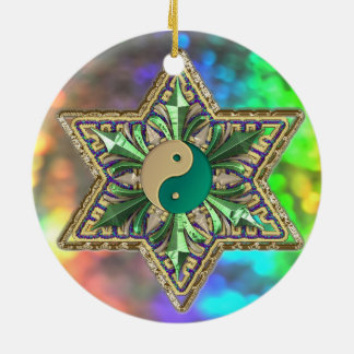 Sparkling Psychedelic Yin-Yang Stars Ornament