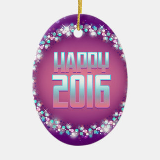 Sparkling Purple Happy New Year 2016 Christmas Ornament
