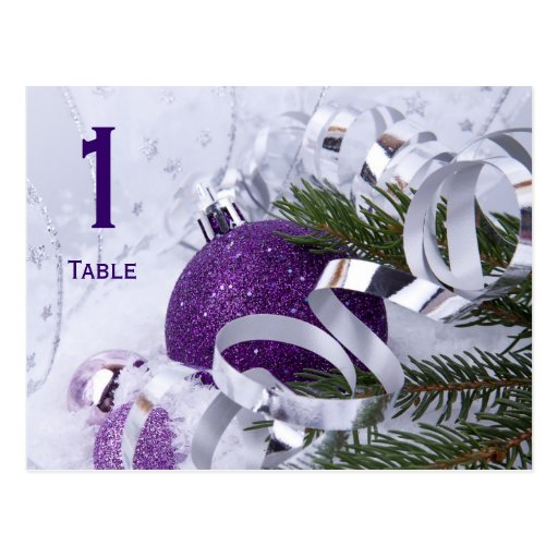Sparkling Purple Ornaments Table Number Postcard