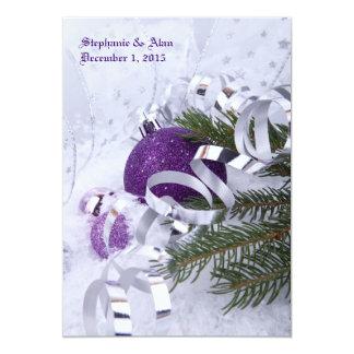 Sparkling Purple Ornaments Wedding Invitation