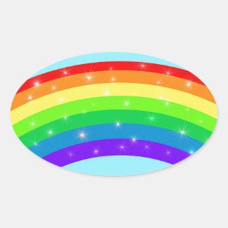 Sparkling Rainbow Oval Sticker