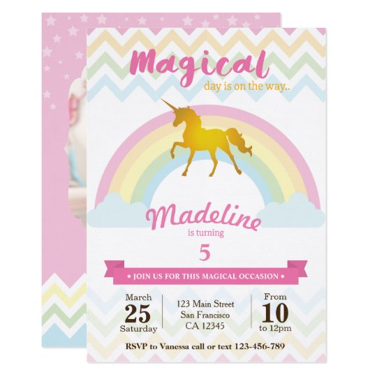 Sparkling rainbow unicorn birthday invitation