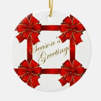 Sparkling Red Bow Season's Greetings Ornament