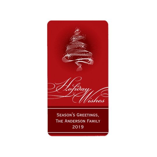 Sparkling Red Christmas Tree Swirls Holiday Gift T Address Label