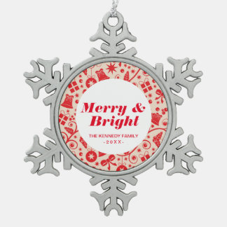 Sparkling Red Holiday Design Pewter Snowflake Decoration