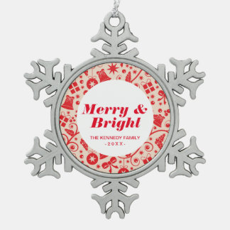 Sparkling Red Holiday Design Snowflake Pewter Christmas Ornament