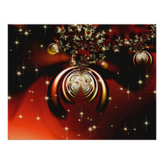 Sparkling red ornament poster