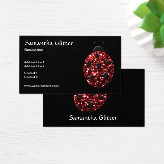 Sparkling red sparkles Ladybird Ladybug Black Business Card