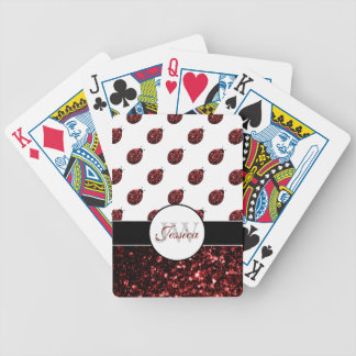 Sparkling red sparkles Ladybird Ladybug Monogram Bicycle Playing Cards