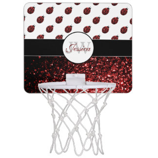 Sparkling red sparkles Ladybird Ladybug Monogram Mini Basketball Hoop