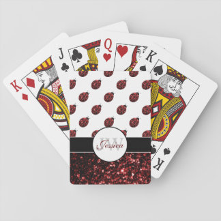 Sparkling red sparkles Ladybird Ladybug Monogram Playing Cards