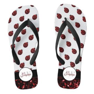 Sparkling red sparkles Ladybug pattern Monogram Flip Flops