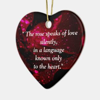 Sparkling Rose Detail Ceramic Heart Decoration